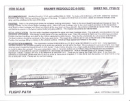 1/200 Scale Decal Braniff International DC8-50 / 62 RED / GOLD