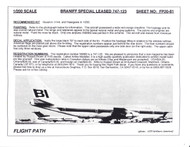1/200 Scale Decal Braniff International 747-123 SPECIAL LEASED