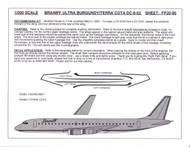 1/200 Scale Decal Braniff Ultra DC8-62 BURGUNDY / TERRA COTA