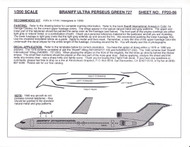 1/200 Scale Decal Braniff Ultra 727-100 / 200 PERSEUS GREEN