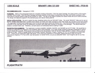 1/200 Scale Decal Braniff 727-200 1984 LIVERY