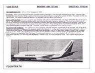 1/200 Scale Decal Braniff 737-200 1984 LIVERY