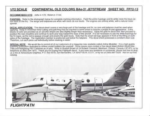 1/72 Scale Decal Continenatal Express BAe 31 Jetstream