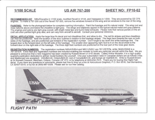 1/100 Scale Decal USAir 767-200