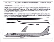 1/100 Scale Decal Braniff DC8-62 ULTRA PERSEUS GREEN