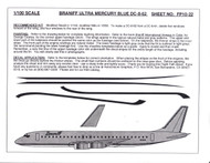 1/100 Scale Decal Braniff DC8-62 ULTRA MERCURY BLUE