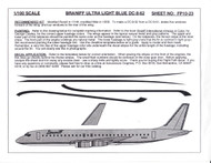 1/100 Scale Decal Braniff DC8-62 ULTRA LIGHT BLUE