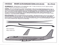 1/100 Scale Decal Braniff DC8-62 ULTRA BURGUNDY / TERRA COTA