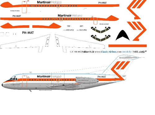 1/144 Scale Decal Martinair F-28