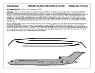 1/100 Scale Decal Braniff International 727-200 ULTRA PURPLE