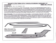 1/100 Scale Decal Braniff International 727-200 ULTRA TERRA COTA / BROWN / BURGUNDY