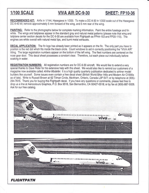 1/100 Scale Decal Viva Air DC9-30