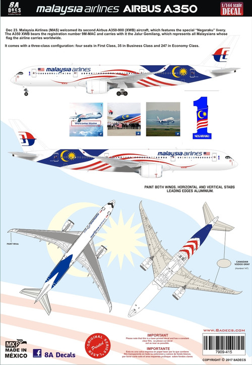 1/144 Scale Decal Malaysia Airlines A-350