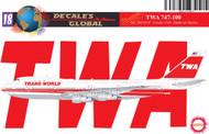1/144 Scale Decal TWA 747-100