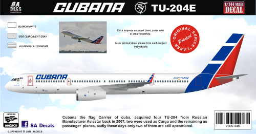 1/144 Scale Decal Cubana TU-204E