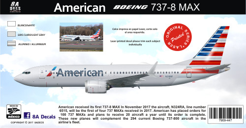 1/144 Scale Decal American 737-8 MAX