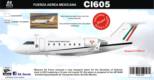 1/144 Scale Decal Fueerza Aerea Mexicana Challenger