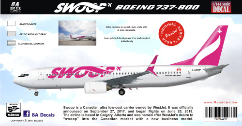 1/144 Scale Decal SWOOP 737-800
