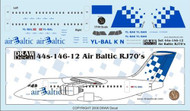 1/144 Scale Decal Air Baltic RJ-70