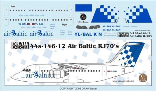 1/144 Scale Decal Air Baltic RJ-70