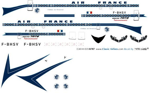1/144 Scale Decal Air France 707 Delivery