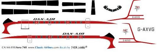 1/144 Scale Decal Dan-Air HS-748