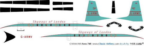 1/144 Scale Decal Skyways of London HS-748
