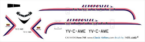 1/144 Scale Decal Aeropostal HS-748 Pink