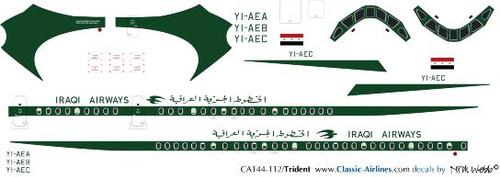 1/144 Scale Decal Iraqi Airways Trident