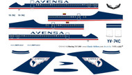 1/144 Scale Decal Avensa 727-200 Delivery