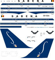 1/144 Scale Decal Sabena 747