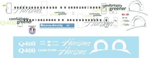 1/144 Scale Decal Horizon Dash 8-400 Comfortably Greener Livery