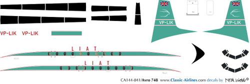 1/144 Scale Decal LIAT HS-748