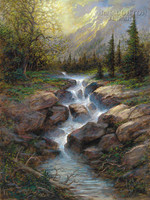 Mountain Cascade 24 x 30 LE Signed & Numbered - Giclee Canvas