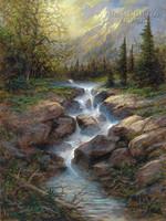 Mountain Cascade 28 x 35 - Giclee Canvas