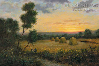 Haystacks at Dusk 12 x 18 OE Signed by Artist - Giclee Canvas