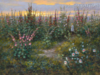 Among the Hollyhocks 12x18 OE Signed by Artist - Giclee Canvas