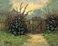 Hollyhock Gate 16x20 LE Signed & Numbered - Giclee Canvas