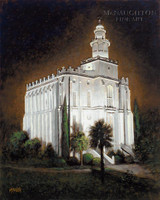 St George Temple at Night 11x14 LE Signed & Numbered - Giclee Canvas