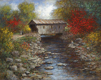 Old Covered Bridge 18x24 LE Signed & Numbered - Giclee Canvas