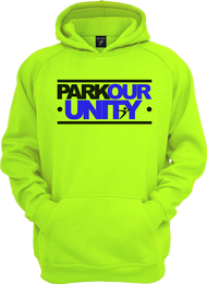 The Parkour Unity Hoodie in our electric green version.