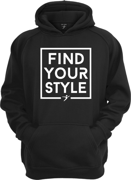 The Find Your Style Hoodie in our black version with a white print.