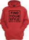 The Find Your Style Hoodie in our cardinal version with a black print.