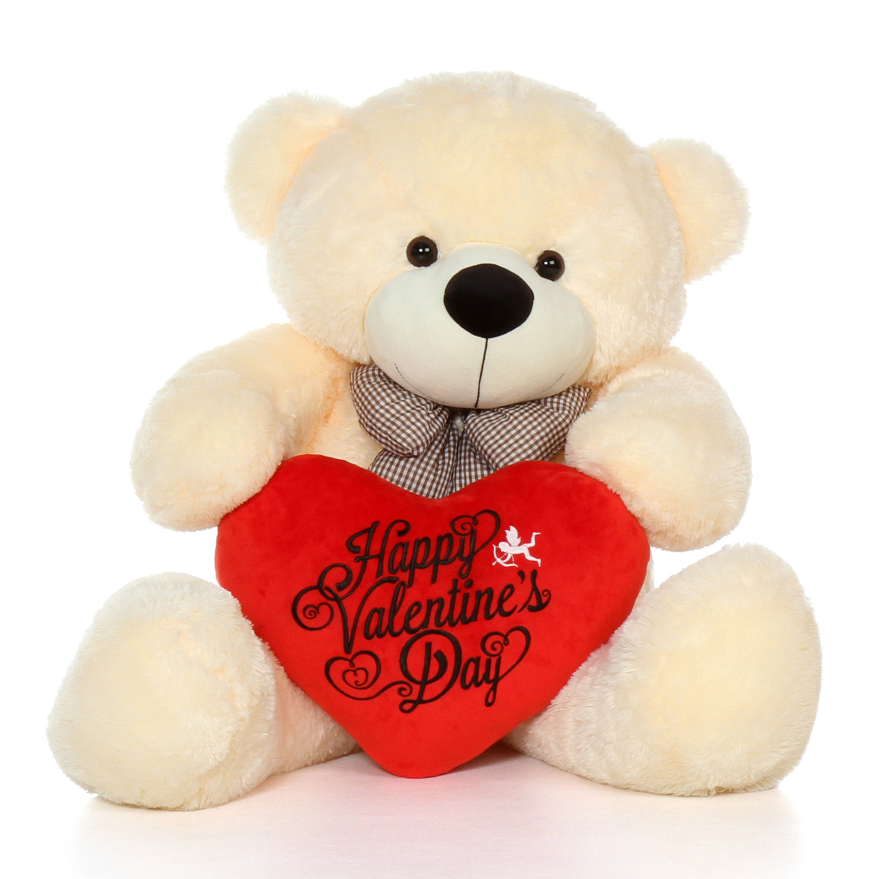 48in life size happy valentines day teddy bear vanilla cream cozy cuddles with plush red heart pillow - Giant Teddy Bear For Valentines Day