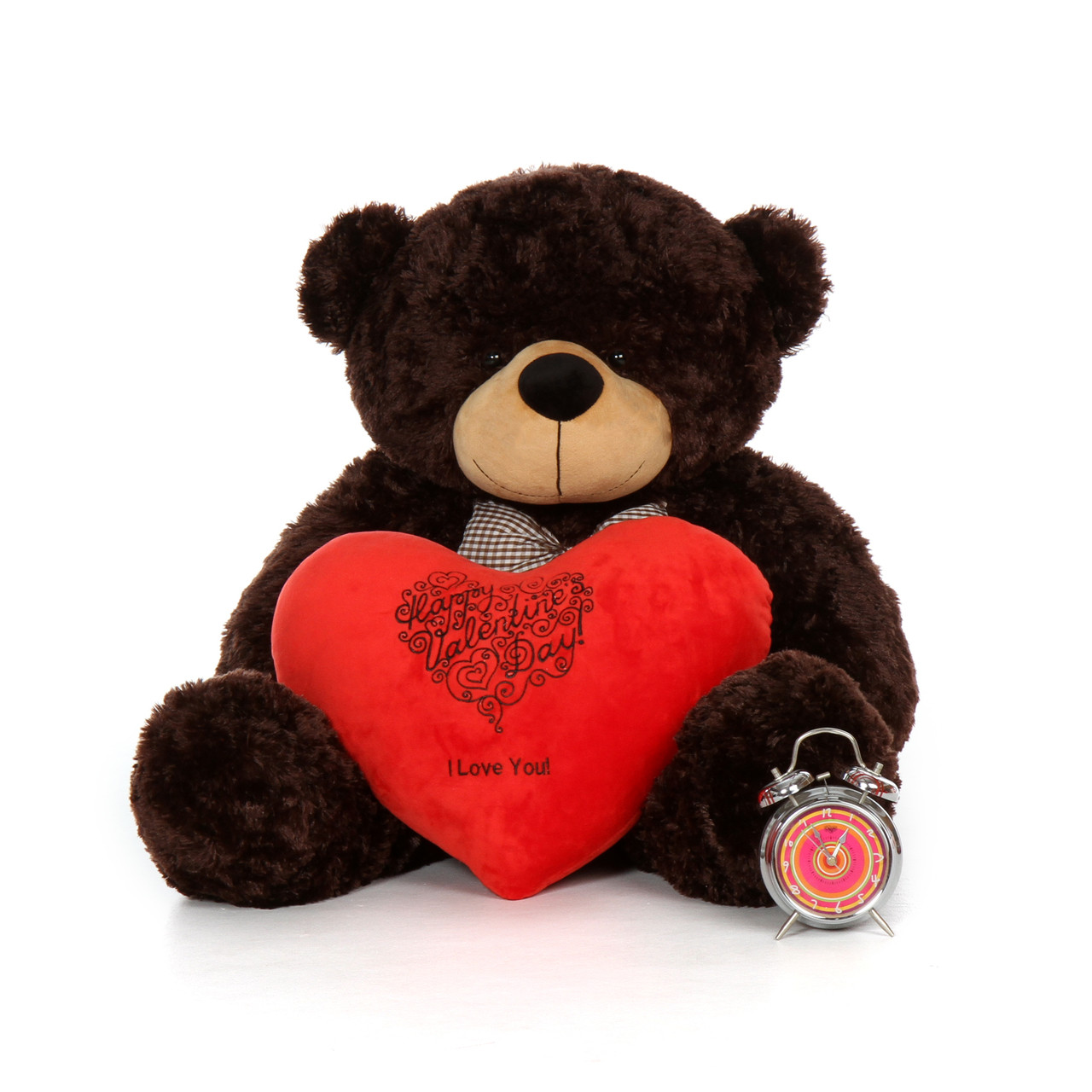38in happy valentines day i love you teddy bear chocolate brownie cuddles with plush red heart pillow - Giant Teddy Bear For Valentines Day