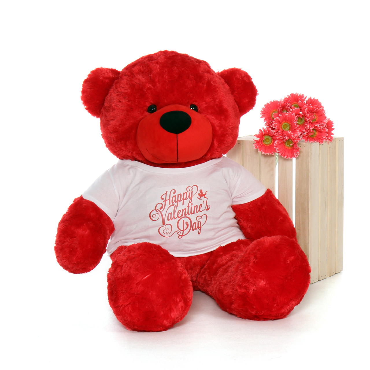 4ft life size teddy bear wearing happy valentines day shirt choose your favorite fur color - Giant Teddy Bears For Valentines Day
