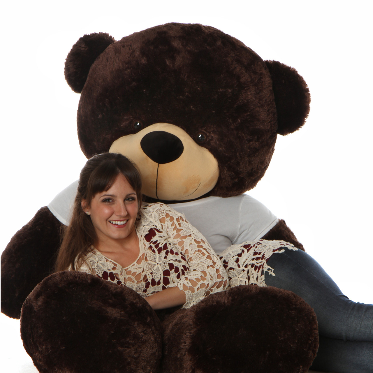 72in brownie cuddles giant chocolate brown teddy bear in cute happy valentines day t shirt - Giant Teddy Bears For Valentines Day
