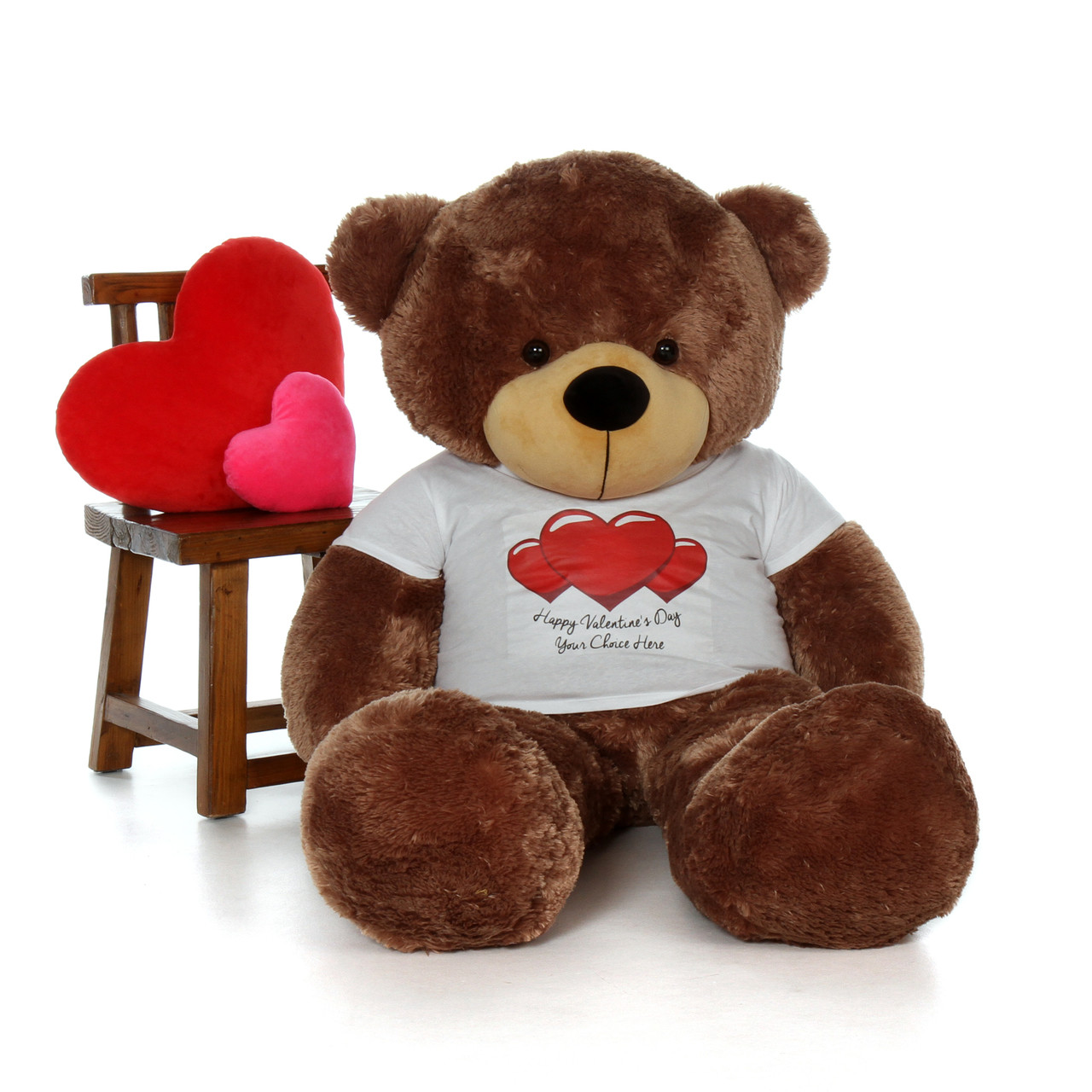 5ft life size teddy bear wearing customized happy valentines day shirt and choose your favorite fur color - Giant Teddy Bear For Valentines Day