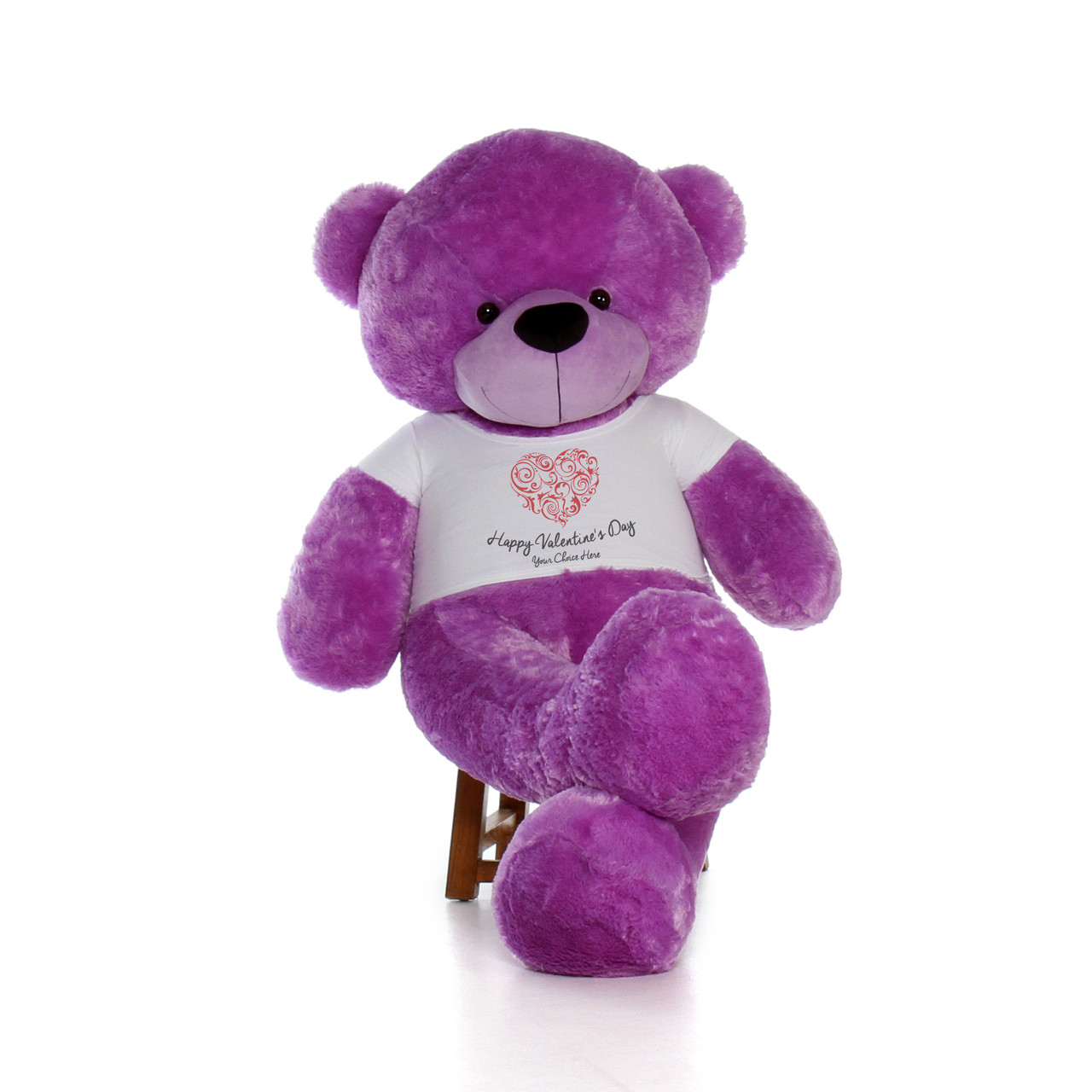 6ft life size happy valentines day teddy bears customize your fur color and shirt text choices - Giant Teddy Bear For Valentines Day