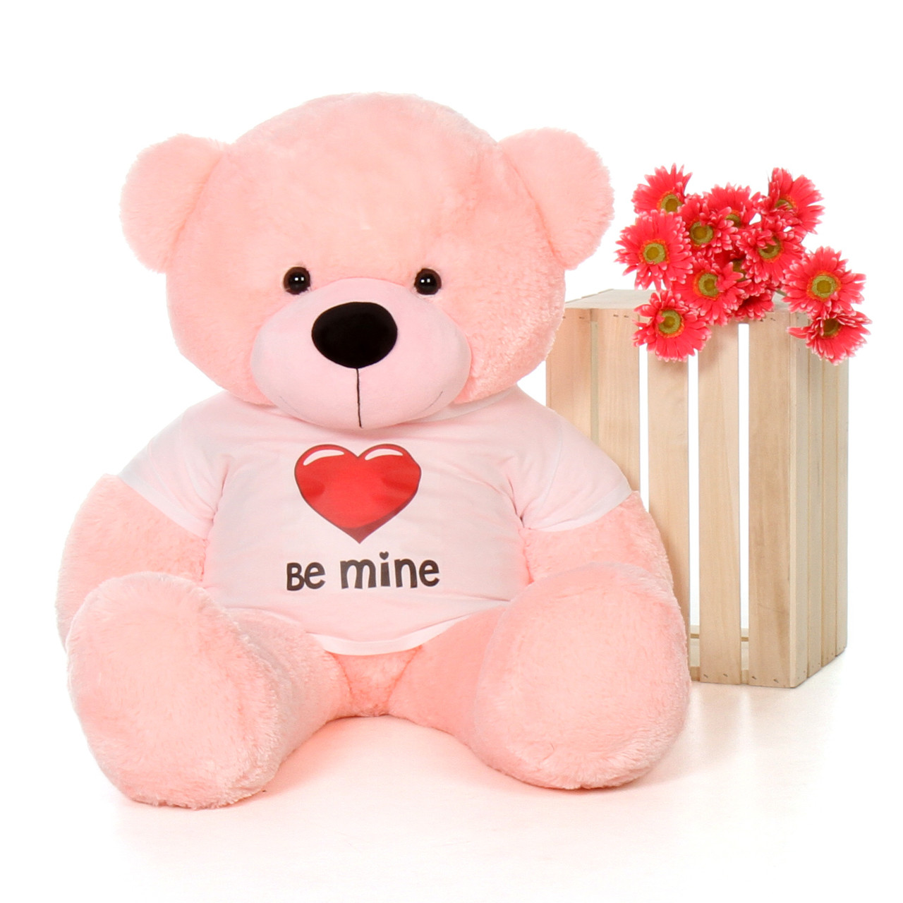4ft life size valentines day teddy bear wearing be mine shirt choose your favorite fur color - Giant Teddy Bears For Valentines Day